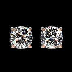 1 ctw Certified VS/SI Quality Cushion Diamond Stud Earrings 10k Rose Gold - REF-120K3Y