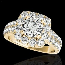 2.5 ctw Certified Diamond Solitaire Halo Ring 10k Yellow Gold - REF-300G2W