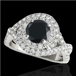 2 ctw Certified VS Black Diamond Solitaire Halo Ring 10k White Gold - REF-74W2H
