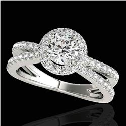 2 ctw Certified Diamond Solitaire Halo Ring 10k White Gold - REF-252K3Y