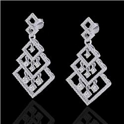 3 ctw Micro Pave VS/SI Diamond Earrings Dangling 14k White Gold - REF-290H9R
