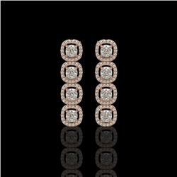 3.84 ctw Cushion Cut Diamond Micro Pave Earrings 18K Rose Gold - REF-337R5K