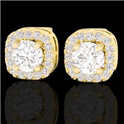 0.75 ctw Micro Pave VS/SI Diamond Earrings Designer Halo 18k Yellow Gold - REF-87G3W