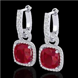6 ctw Ruby & Micro Pave VS/SI Diamond Certified Earrings 18k White Gold - REF-118F9M