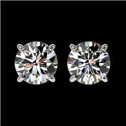 1.55 ctw Certified Quality Diamond Stud Earrings 10k White Gold - REF-127A5N