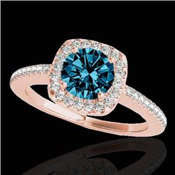 1.25 ctw SI Certified Fancy Blue Diamond Halo Ring 10k Rose Gold - REF-150M2G