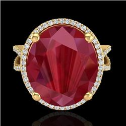 12 ctw Ruby & Micro Pave VS/SI Diamond Certified Ring 18k Yellow Gold - REF-143N6F