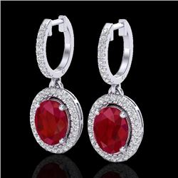 4.25 ctw Ruby & Micro Pave VS/SI Diamond Earrings Halo 18k White Gold - REF-118Y2X