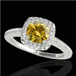 1.25 ctw Certified SI/I Fancy Intense Yellow Diamond Ring 10k White Gold - REF-190H9R