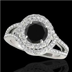 2.15 ctw Certified VS Black Diamond Solitaire Halo Ring 10k White Gold - REF-130Y5X
