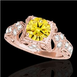 1.25 ctw Certified SI Intense Yellow Diamond Antique Ring 10k Rose Gold - REF-184A3N