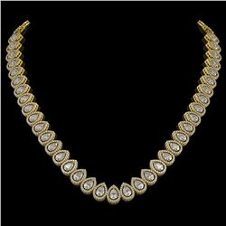 34.83 ctw Pear Cut Diamond Micro Pave Necklace 18K Yellow Gold - REF-4761H8R