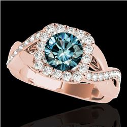 2 ctw SI Certified Fancy Blue Diamond Solitaire Halo Ring 10k Rose Gold - REF-190G9W