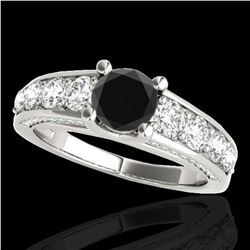 2.55 ctw Certified Black Diamond Solitaire Ring 10k White Gold - REF-121M4G