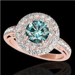 2.25 ctw SI Certified Fancy Blue Diamond Halo Ring 10k Rose Gold - REF-177X3A
