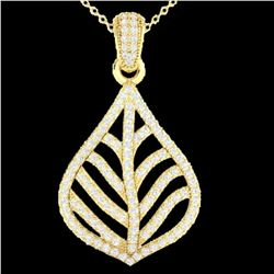 1.25 ctw Micro Pave VS/SI Diamond Necklace Designer 18k Yellow Gold - REF-134Y5X