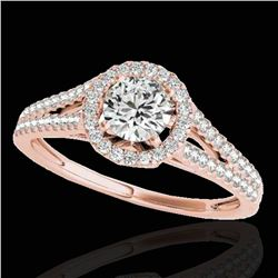 1.3 ctw Certified Diamond Solitaire Halo Ring 10k Rose Gold - REF-177R3K