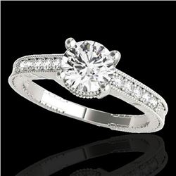 1.2 ctw Certified Diamond Solitaire Antique Ring 10k White Gold - REF-188H2R