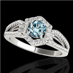1.43 ctw SI Certified Fancy Blue Diamond Halo Ring 10k White Gold - REF-132R3K