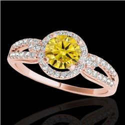 1.25 ctw Certified SI/I Fancy Intense Yellow Diamond Ring 10k Rose Gold - REF-190N9F