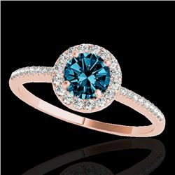 1.2 ctw SI Certified Fancy Blue Diamond Solitaire Halo Ring 10k Rose Gold - REF-122A8N