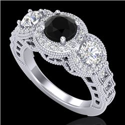 2.16 ctw Fancy Black Diamond Art Deco 3 Stone Ring 18k White Gold - REF-254Y5X