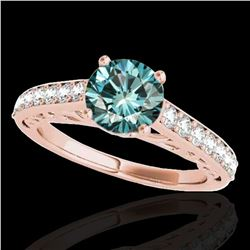 1.4 ctw SI Certified Fancy Blue Diamond Solitaire Ring 10k Rose Gold - REF-121N4F
