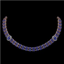 43.13 ctw Sapphire & Diamond Necklace 14K Rose Gold - REF-527Y3X