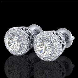 1.55 ctw VS/SI Diamond Solitaire Art Deco Stud Earrings 18k White Gold - REF-259X3A