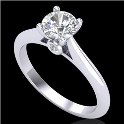 0.83 ctw VS/SI Diamond Solitaire Art Deco Ring 18k White Gold - REF-116K6Y