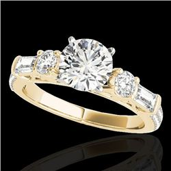 2.5 ctw Certified Diamond Pave Solitaire Ring 10k Yellow Gold - REF-381Y8X