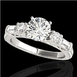 2.5 ctw Certified Diamond Pave Solitaire Ring 10k White Gold - REF-381W8H