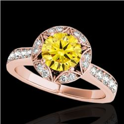 1.5 ctw Certified SI/I Fancy Intense Yellow Diamond Ring 10k Rose Gold - REF-211F4M