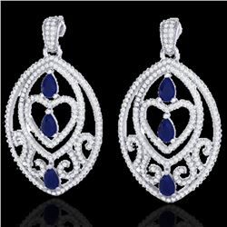 7 ctw Sapphire & Micro Pave VS/SI Diamond Heart Earrings 18k White Gold - REF-418G2W