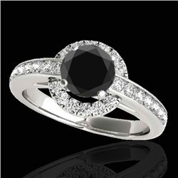 1.5 ctw Certified VS Black Diamond Solitaire Halo Ring 10k White Gold - REF-62G8W