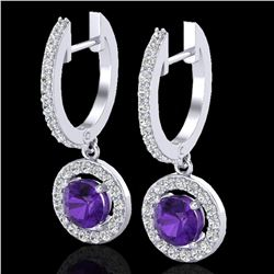 1.75 ctw Amethyst & Micro Pave VS/SI Diamond Earrings 18k White Gold - REF-86A2N