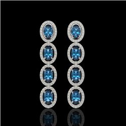 6.28 ctw London Topaz & Diamond Micro Pave Halo Earrings 10k White Gold - REF-143R6K
