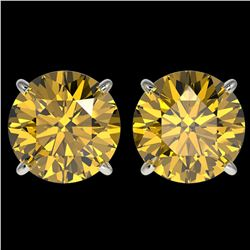 4 ctw Certified Intense Yellow Diamond Stud Earrings 10k White Gold - REF-724Y3X