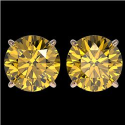 4 ctw Certified Intense Yellow Diamond Stud Earrings 10k Rose Gold - REF-724A3N