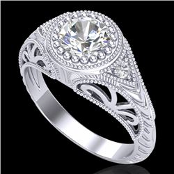 1.07 ctw VS/SI Diamond Art Deco Ring 18k White Gold - REF-321K2Y