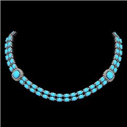 29.85 ctw Turquoise & Diamond Necklace 14K White Gold - REF-527Y3X