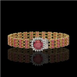 28.56 ctw Tourmaline & Diamond Bracelet 14K Yellow Gold - REF-414K2Y