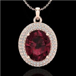 4.50 ctw Garnet & Micro Pave VS/SI Diamond Necklace 14k Rose Gold - REF-84G5W