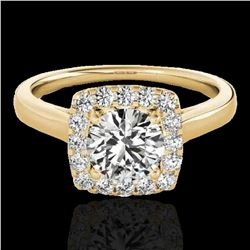1.37 ctw Certified Diamond Solitaire Halo Ring 10k Yellow Gold - REF-197M8G