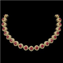 82.17 ctw Certified Ruby & Diamond Victorian Necklace 14K Yellow Gold - REF-1800K2Y
