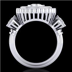 2.62 ctw VS/SI Diamond Solitaire Art Deco 3 Stone Ring 18k White Gold - REF-343A5N