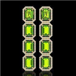 17.81 ctw Peridot & Diamond Micro Pave Halo Earrings 10k Yellow Gold - REF-220N8F
