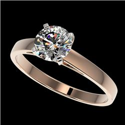 0.97 ctw Certified Quality Diamond Engagment Ring 10k Rose Gold - REF-139R2K