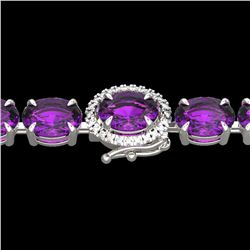 29 ctw Amethyst & VS/SI Diamond Micro Pave Bracelet 14k White Gold - REF-117G3W