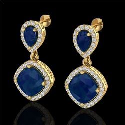7 ctw Sapphire & Micro Pave VS/SI Diamond Earrings Designer 10k Yellow Gold - REF-118F2M